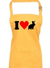 Kochschürze, Backen, Latzschürze, lustige Tiere I love Hase, viele Farben