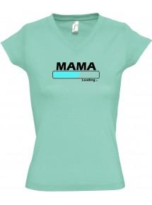 TOP sportlisches Ladyshirt mit V-Ausschnitt Mama Loading