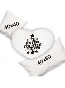 superweiches Zierkissen mit schönen Motiven beste Patentochter der Welt in Herzform, in 45 cm x 45 oder in 40 x 80 cm inklusiv