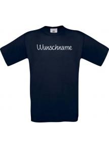 T-Shirt individuell mit Ihrem Wunschtext versehen kult, navy, L