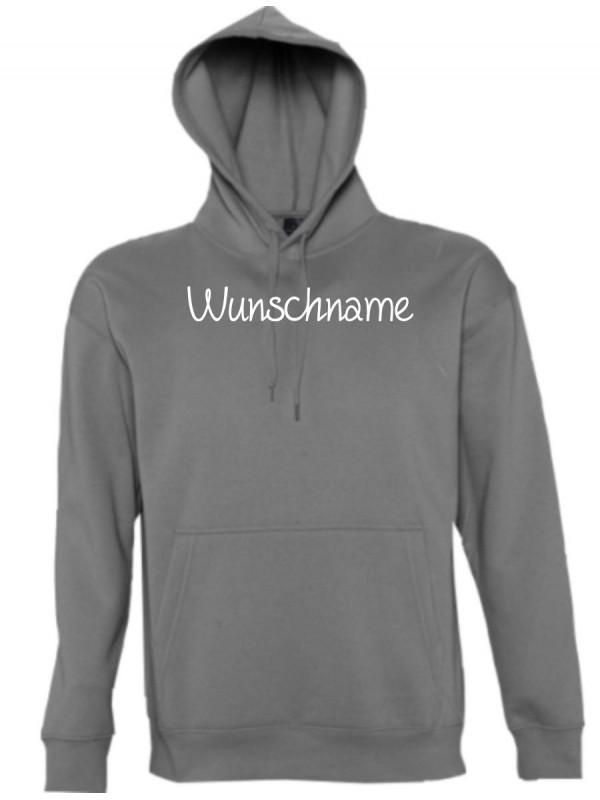 Kapuzen Sweatshirt individuell mit Ihrem Wunschtext versehen kult, grau, L