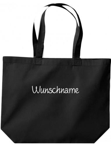 große Einkaufstasche, Shopper mit Ihrem Wunschtext versehen, schwarz