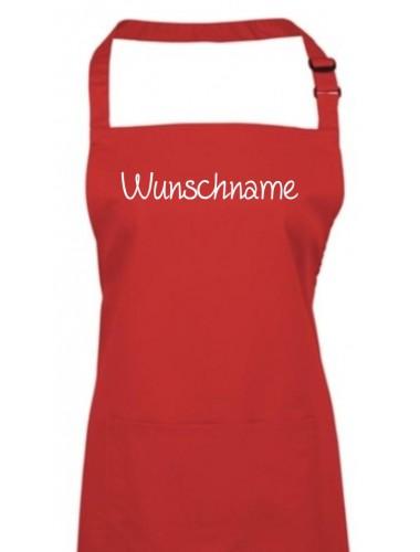 Kochschürze, mit deinem Wunschtext versehen, rot