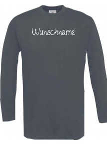 Longshirt mit deinem Wunschtext versehen, grau, L