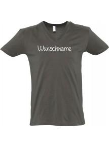 sportlisches Männershirt mit V-Ausschnitt mit deinem Wunschtext versehen