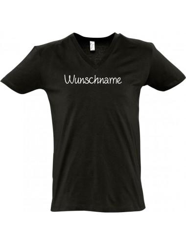 sportlisches Männershirt mit V-Ausschnitt mit deinem Wunschtext versehen, schwarz, L