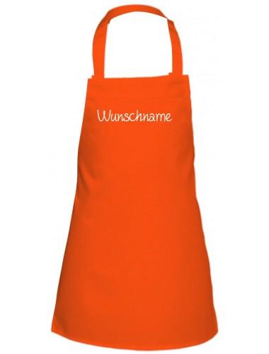 Kinder Latzschürze mit Ihrem Wunschtext versehen, orange