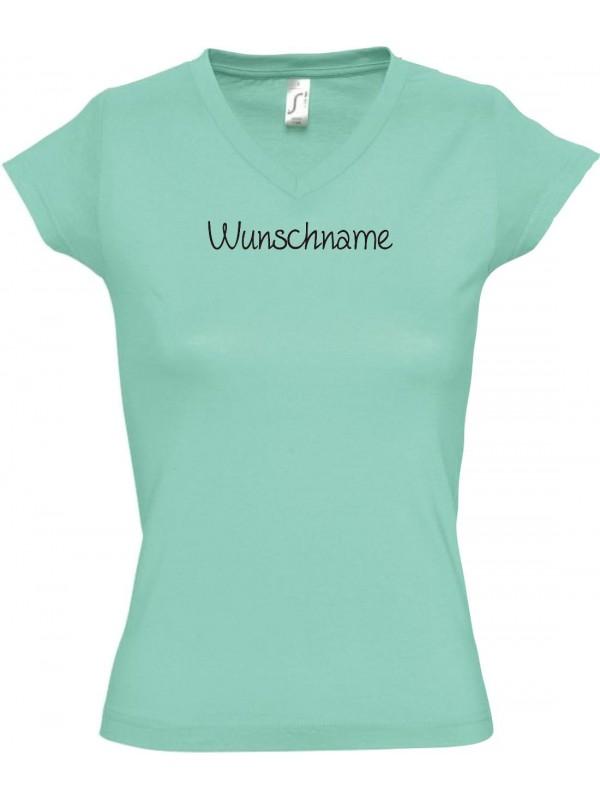 sportlisches Ladyshirt mit V-Ausschnitt mit deinem Wunschtext versehen