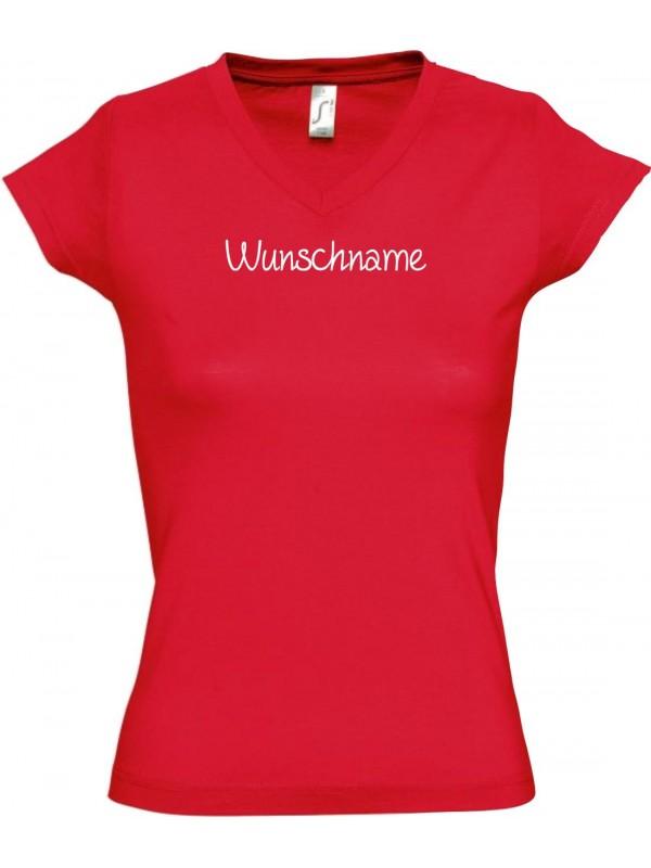 sportlisches Ladyshirt mit V-Ausschnitt mit deinem Wunschtext versehen, rot, L