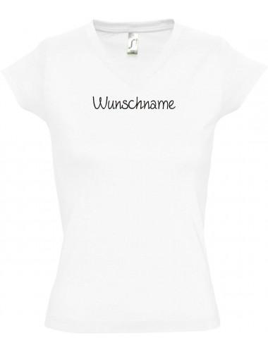 sportlisches Ladyshirt mit V-Ausschnitt mit deinem Wunschtext versehen, weiss, L