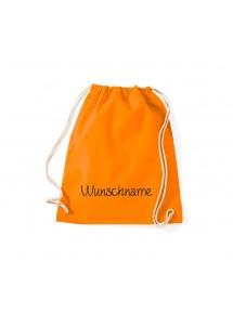 Turnbeutel mit Ihrem Wunschtext versehen, orange