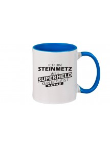 Kaffeepott beidseitig mit Motiv bedruckt Ich bin Steinmetz, weil Superheld kein Beruf ist