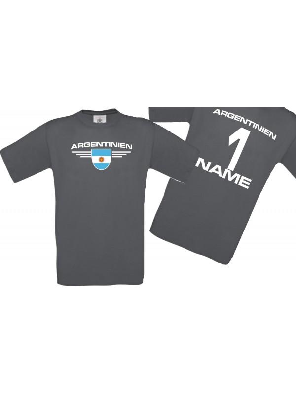 Man T-Shirt Argentinien Ländershirt mit Ihrem Wunschnamen und Ihrer Wunschzahl, Fußball