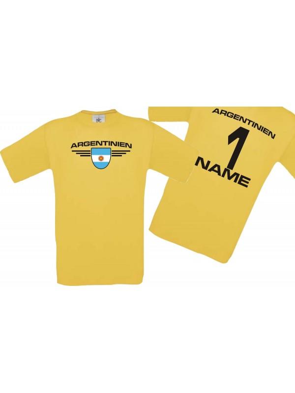 Man T-Shirt Argentinien Wappen mit Wunschnamen und Wunschnummer, Land, Länder, gelb, L