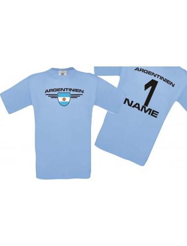 Man T-Shirt Argentinien Wappen mit Wunschnamen und Wunschnummer, Land, Länder, hellblau, L