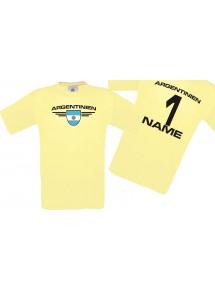 Man T-Shirt Argentinien Wappen mit Wunschnamen und Wunschnummer, Land, Länder, hellgelb, L