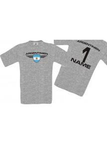 Man T-Shirt Argentinien Wappen mit Wunschnamen und Wunschnummer, Land, Länder, sportsgrey, L
