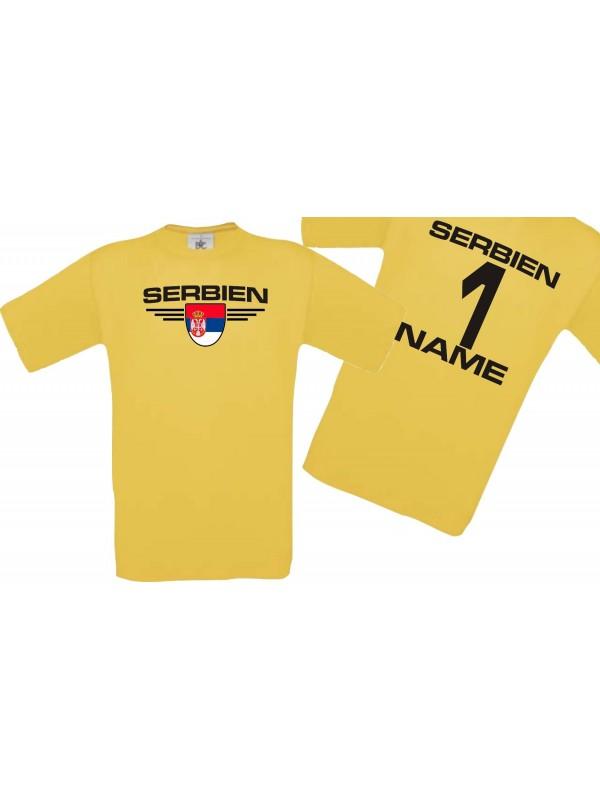 Man T-Shirt Serbien Wappen mit Wunschnamen und Wunschnummer, Land, Länder, gelb, L