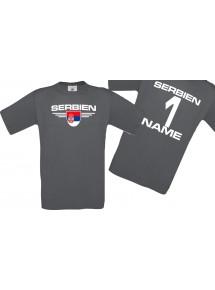 Man T-Shirt Serbien Wappen mit Wunschnamen und Wunschnummer, Land, Länder, grau, L