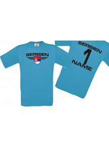 Man T-Shirt Serbien Wappen mit Wunschnamen und Wunschnummer, Land, Länder, türkis, L