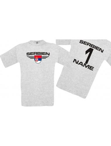 Man T-Shirt Serbien Wappen mit Wunschnamen und Wunschnummer, Land, Länder, ash, L