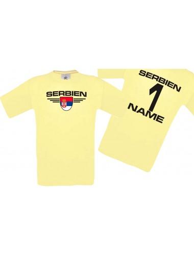 Man T-Shirt Serbien Wappen mit Wunschnamen und Wunschnummer, Land, Länder, hellgelb, L