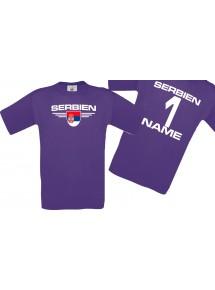 Man T-Shirt Serbien Wappen mit Wunschnamen und Wunschnummer, Land, Länder, lila, L