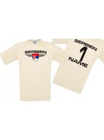 Man T-Shirt Serbien Wappen mit Wunschnamen und Wunschnummer, Land, Länder, natur, L