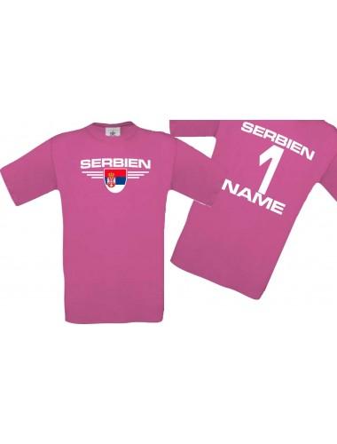 Man T-Shirt Serbien Wappen mit Wunschnamen und Wunschnummer, Land, Länder, pink, L