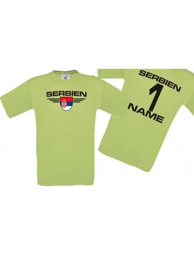 Man T-Shirt Serbien Wappen mit Wunschnamen und Wunschnummer, Land, Länder, pistas, L