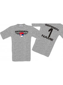 Man T-Shirt Serbien Wappen mit Wunschnamen und Wunschnummer, Land, Länder, sportsgrey, L