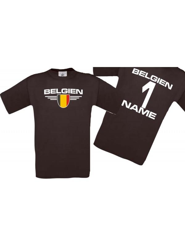 Man T-Shirt Belgien Wappen mit Wunschnamen und Wunschnummer, Land, Länder, braun, L