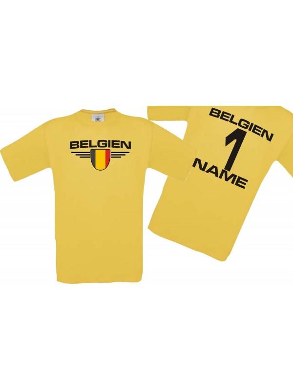 Man T-Shirt Belgien Wappen mit Wunschnamen und Wunschnummer, Land, Länder, gelb, L