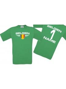 Man T-Shirt Belgien Wappen mit Wunschnamen und Wunschnummer, Land, Länder, kelly, L