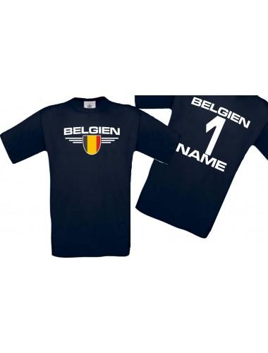 Man T-Shirt Belgien Wappen mit Wunschnamen und Wunschnummer, Land, Länder, navy, L