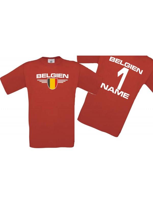 Man T-Shirt Belgien Wappen mit Wunschnamen und Wunschnummer, Land, Länder, rot, L