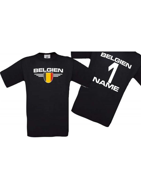Man T-Shirt Belgien Wappen mit Wunschnamen und Wunschnummer, Land, Länder, schwarz, L