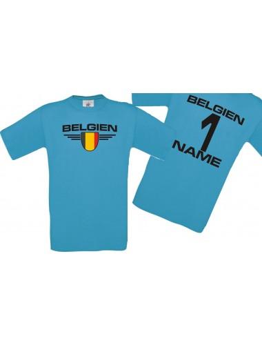 Man T-Shirt Belgien Wappen mit Wunschnamen und Wunschnummer, Land, Länder, türkis, L