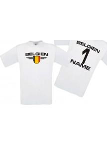 Man T-Shirt Belgien Wappen mit Wunschnamen und Wunschnummer, Land, Länder, weiss, L