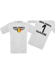 Man T-Shirt Belgien Wappen mit Wunschnamen und Wunschnummer, Land, Länder, ash, L