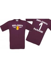 Man T-Shirt Belgien Wappen mit Wunschnamen und Wunschnummer, Land, Länder, burgundy, L