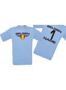 Man T-Shirt Belgien Wappen mit Wunschnamen und Wunschnummer, Land, Länder, hellblau, L