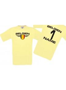Man T-Shirt Belgien Wappen mit Wunschnamen und Wunschnummer, Land, Länder, hellgelb, L