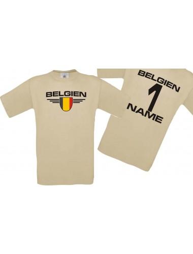 Man T-Shirt Belgien Wappen mit Wunschnamen und Wunschnummer, Land, Länder, khaki, L