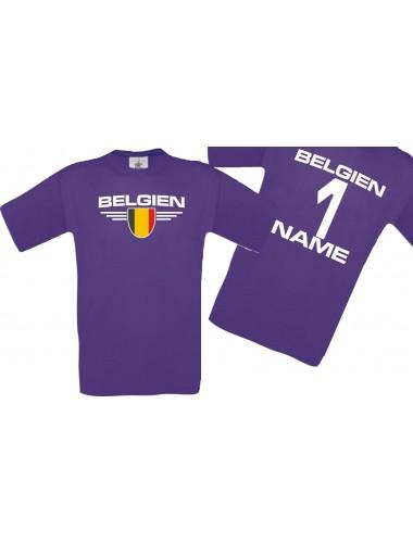 Man T-Shirt Belgien Wappen mit Wunschnamen und Wunschnummer, Land, Länder, lila, L