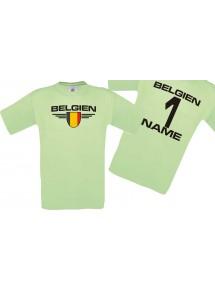 Man T-Shirt Belgien Wappen mit Wunschnamen und Wunschnummer, Land, Länder, mint, L