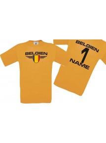 Man T-Shirt Belgien Wappen mit Wunschnamen und Wunschnummer, Land, Länder, orange, L