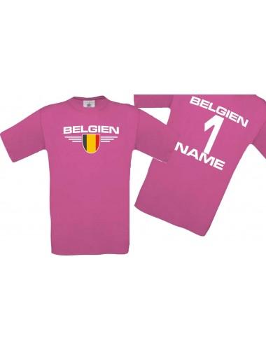 Man T-Shirt Belgien Wappen mit Wunschnamen und Wunschnummer, Land, Länder, pink, L