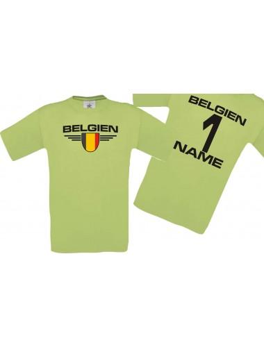 Man T-Shirt Belgien Wappen mit Wunschnamen und Wunschnummer, Land, Länder, pistas, L