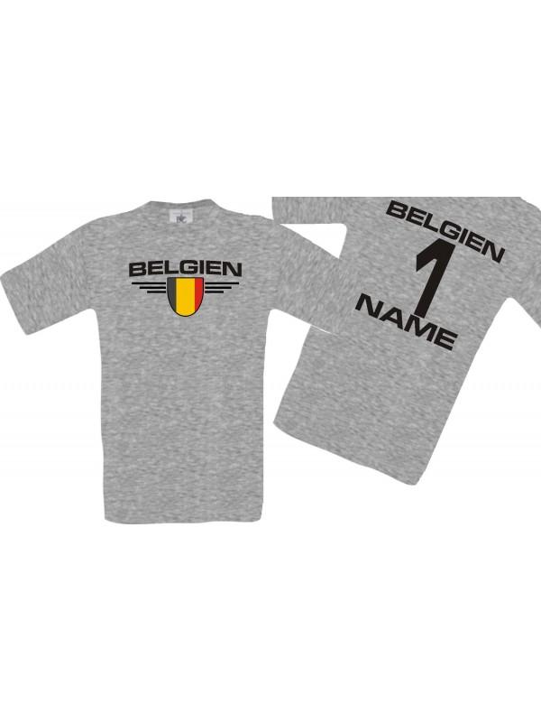 Man T-Shirt Belgien Wappen mit Wunschnamen und Wunschnummer, Land, Länder, sportsgrey, L
